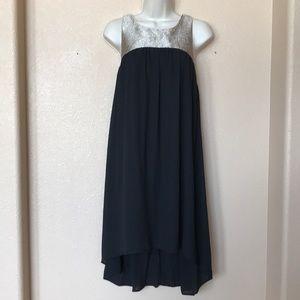 Needle and Thread Black Gold babydoll Dress Large